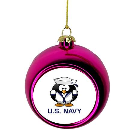 U S Navy United States Penguin Design Bauble Christmas Ornaments Pink Bauble Tree Xmas Balls