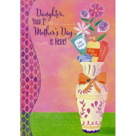 Designer Greetings Vase with Baby Supplies: Daughter 1st Mother's Day Card
