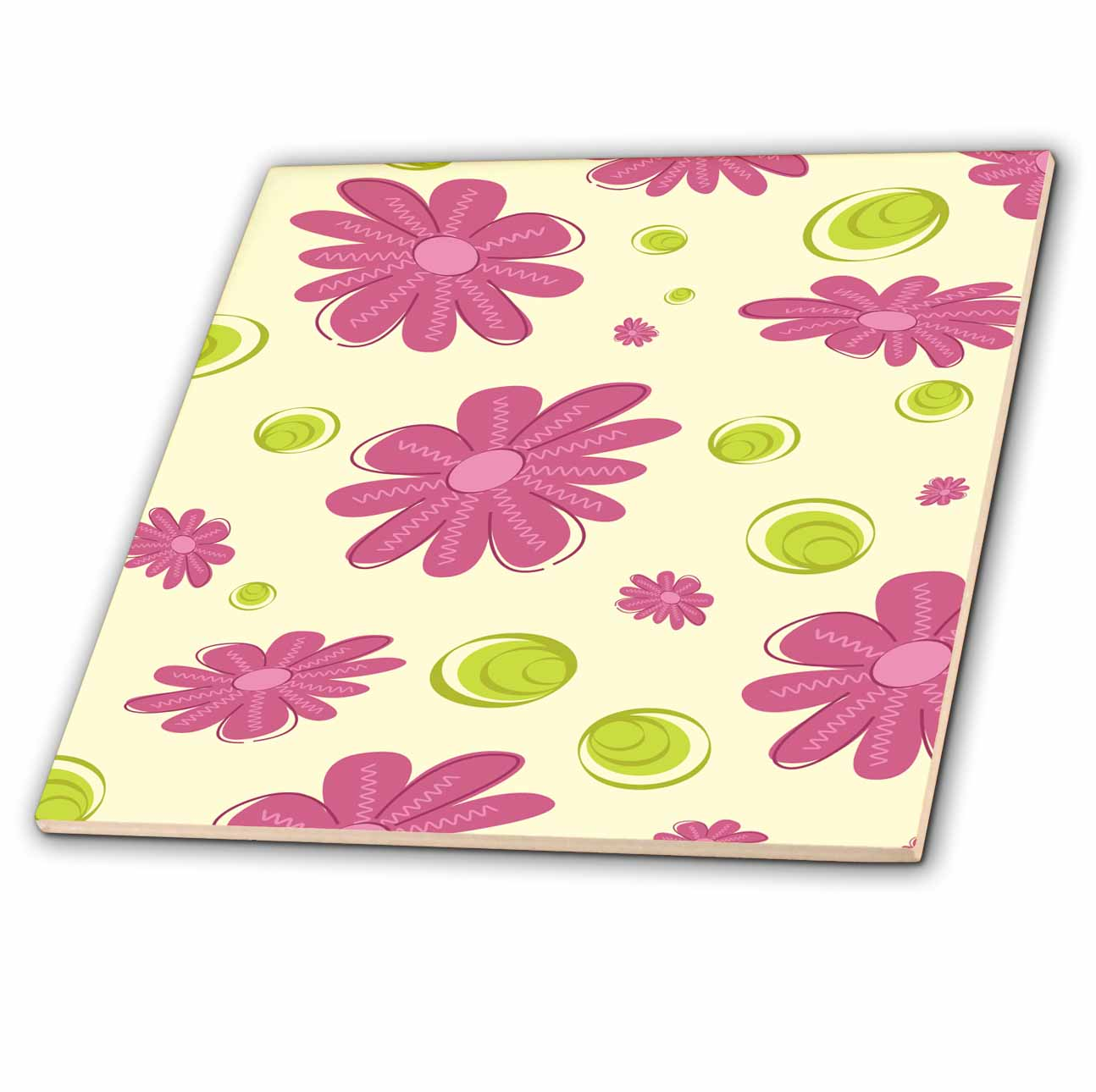 3dRose Cute Purple Daisy Pattern With Green Accents - Ceramic Tile, 4-inch