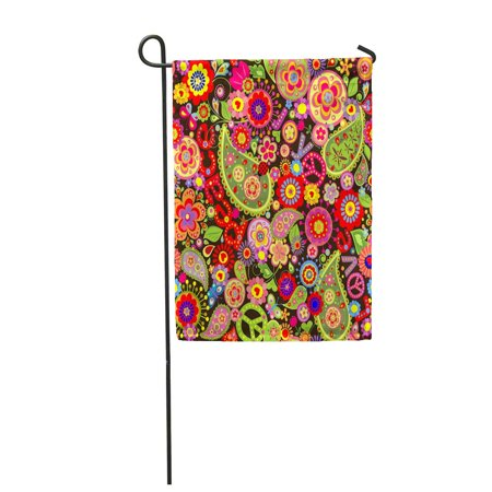 LADDKE Hippy Hippie Colorful Flower Pattern Power Paisley 1970S Sixties Garden Flag Decorative Flag House Banner 12x18 inch (Sixties Flower Power)