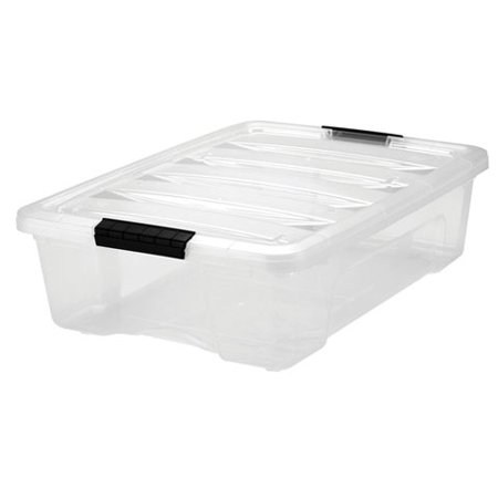 IRIS 26 Qt. Stack & Pull Plastic Storage Box, Clear- Available in Case of 6 or Single - Plastic Book Boxes
