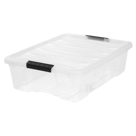 IRIS 26-Qt. Stack & Pull Plastic Storage Box, Clear, 6 Pack OR 1