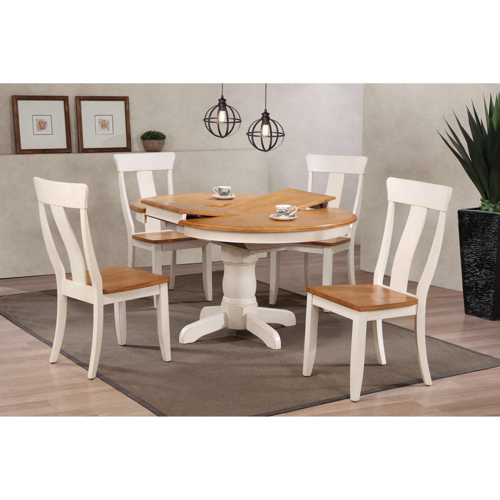 Iconic Furniture Round Antiqued Panel Back 5 Piece Dining Table Set