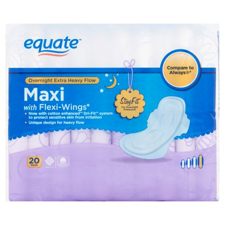 Equate Overnight Extra Heavy Flow Maxi Pads W Wings  20 Ct