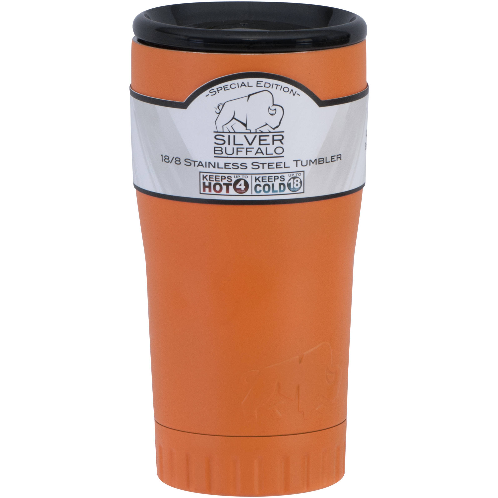 20 oz Stainless Steel Tumbler Cup by Silver Buffalo Matte Orange by Generic