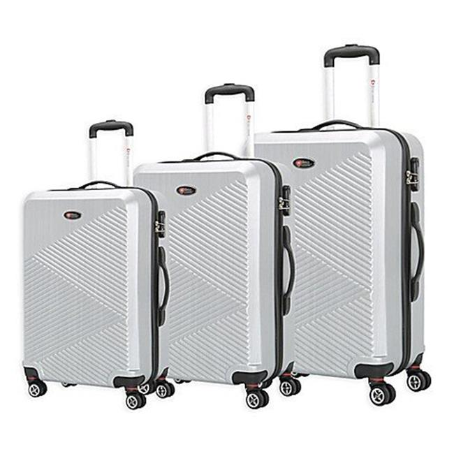 Brio Luggage 2222-Silver PET Ridged Luggage Set, Silver