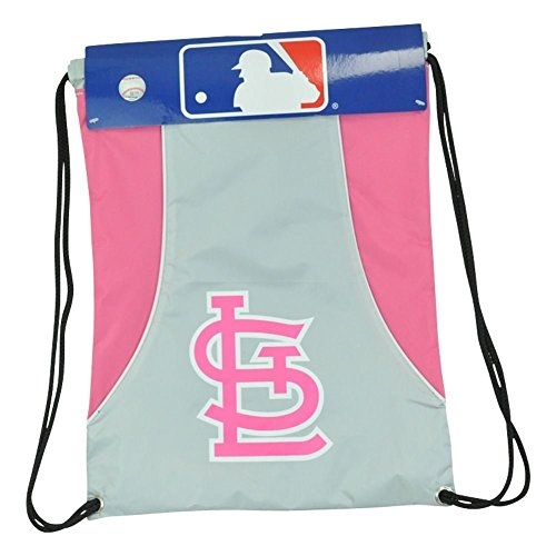 MLB Officially Licensed Pink and Gray Water Resistant Cinch Sack Backpack (St. Louis Cardinals)