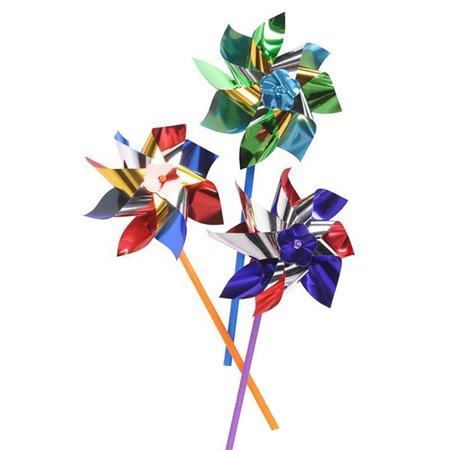 Colorful Metallic Pinwheels – Pack of 12 Windmills with Stick for Kids and Adults- Perfect Summer, Pool Decoration, Beach-Themed Birthdays, Handy Party Favors, Classic Gift Ideas