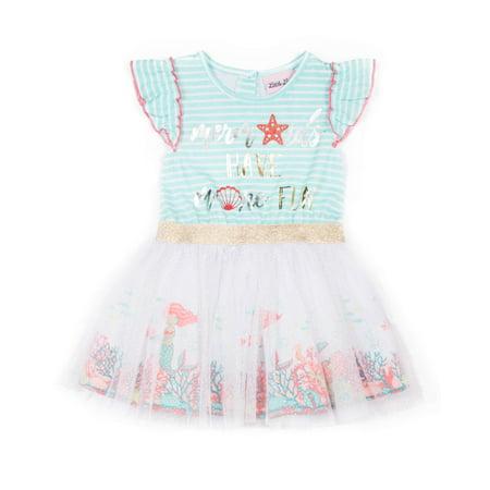 Sequin Rainbow Cold Shoulder Tulle Dress (Little - Girls Rainbow Dress