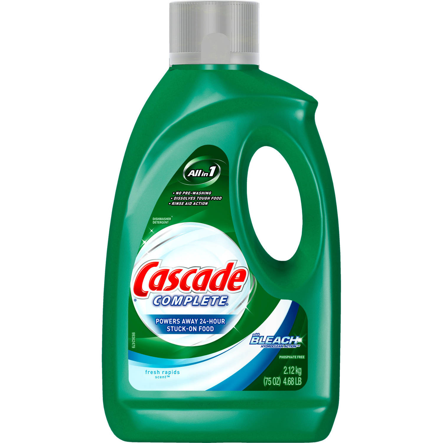 Cascade Complete with the Power of Clorox Fresh Scent Dishwasher Detergent, 75 oz