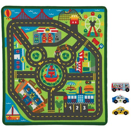 Melissa Doug Mickey Mouse City Activity Rug Set