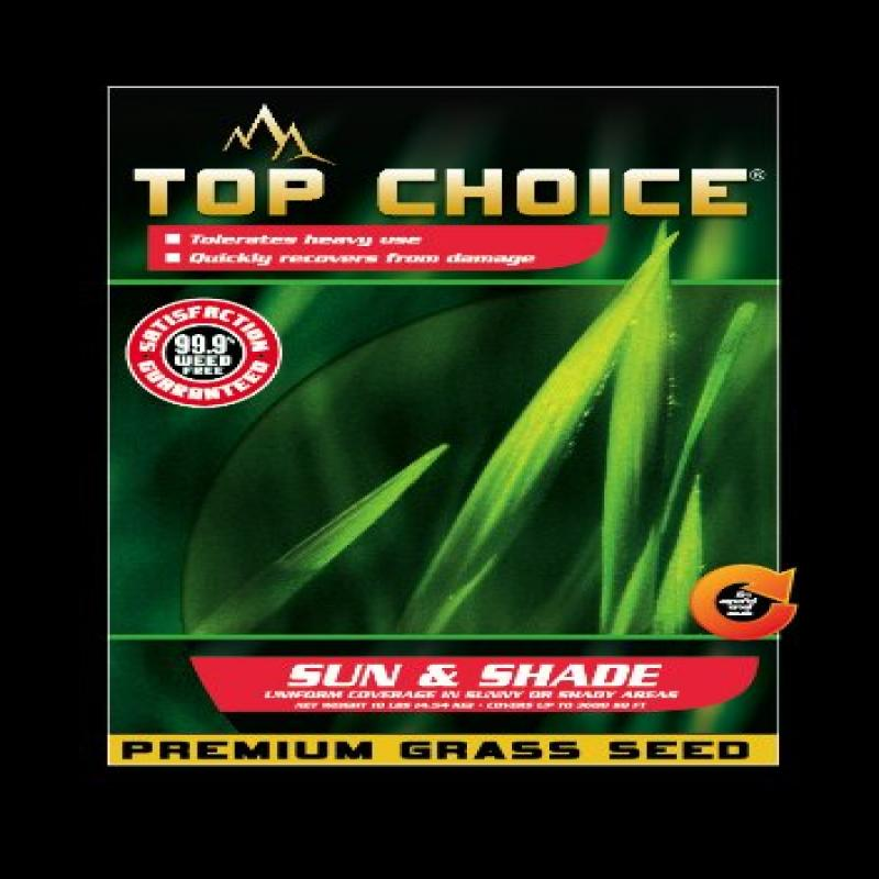 Top Choice 17629 Sun and Shade Grass Seed Mixture, 10-Pound