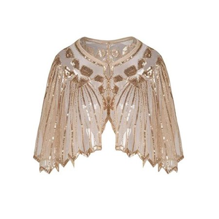 Womens Beaded Embroidered Shawl - Women's 1920s Shawl Beaded Sequin Deco Evening Cape Bolero Flapper Cover up