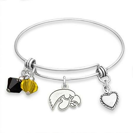 Iowa Hawkeyes Wire Memory Bracelet with Charms Iowa Hawkeyes School Charm
