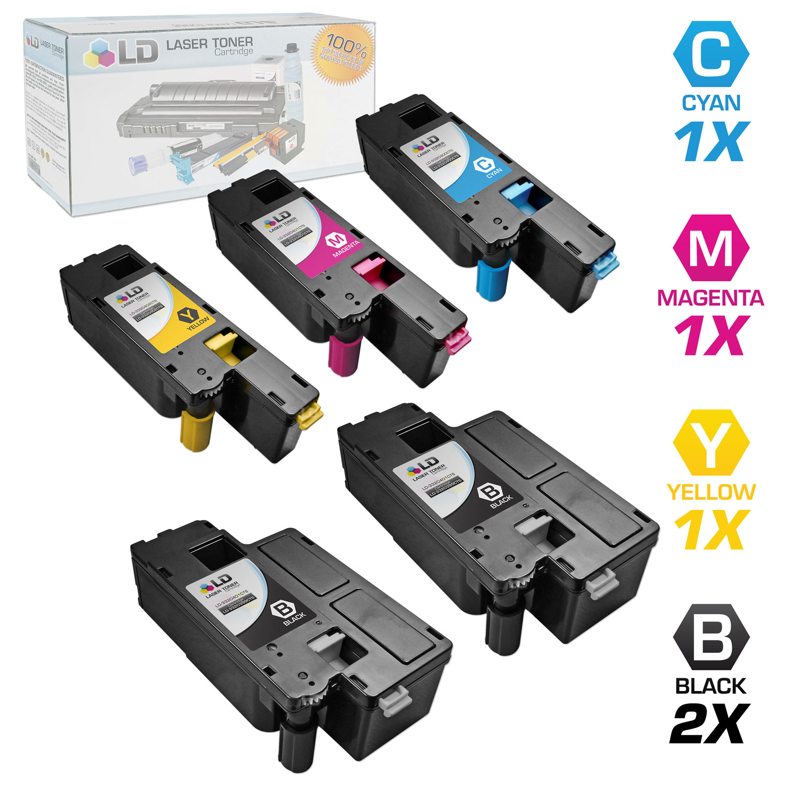 LD Compatible Replacements for Dell Color Laser C1660w Set of 5 Laser Toner Cartridges Includes: 2 332-0399 Black, 1