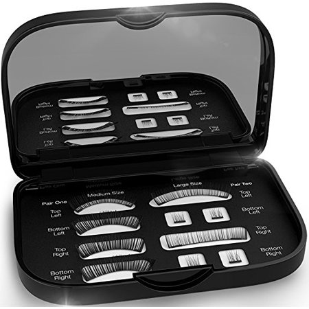 Magnetic False Eyelashes [FREE MIRROR] Full Eye Kit - Natural Length Magnet Lashes - Dual Magnets - Fake Lashes Set - [Medium / Large] - Feather Fake Eyelashes