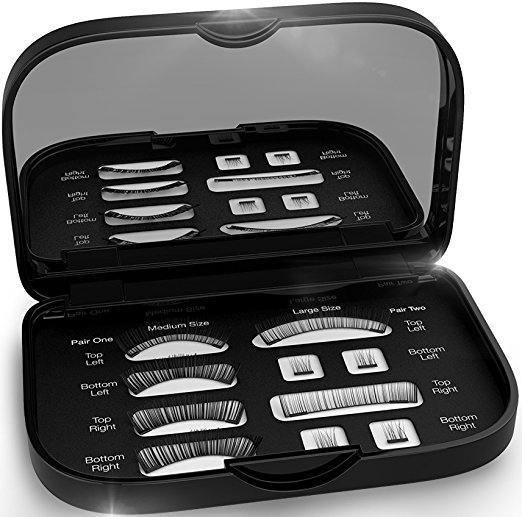 Magnetic False Eyelashes [FREE MIRROR] Full Eye Kit - Natural Length Magnet Lashes - Dual Magnets - Fake Lashes Set - [Medium / Large]