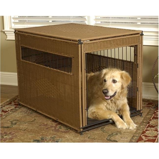 Mr. Herzhers 13502 Mr. Herzhers Wicker Dog Crate - Extra Large-Dark Brown