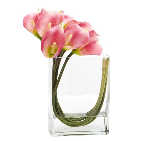 Nearly Natural Calla Lily - Nearly Natural 12 ft. ft. Calla Lily in Rectangular Glass Vase Artificial Arrangement