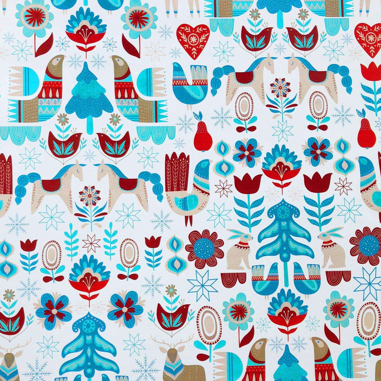 Jillson & Roberts Gift Wrap, Nordic Holiday (6 Jumbo Rolls 10ft x 30in)