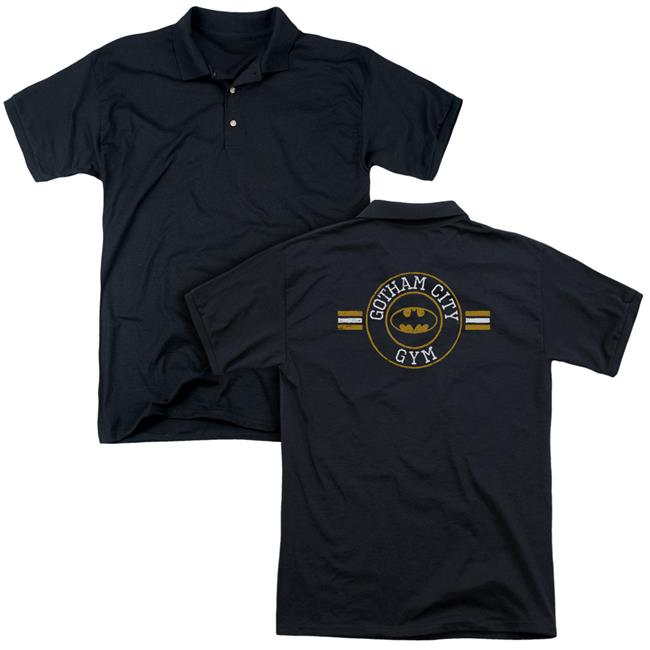 Trevco BM2646BK-POLO-2 Batman Gotham City Gym Back Print-Mens Regular Fit Polo T-Shirt, Black - Medium