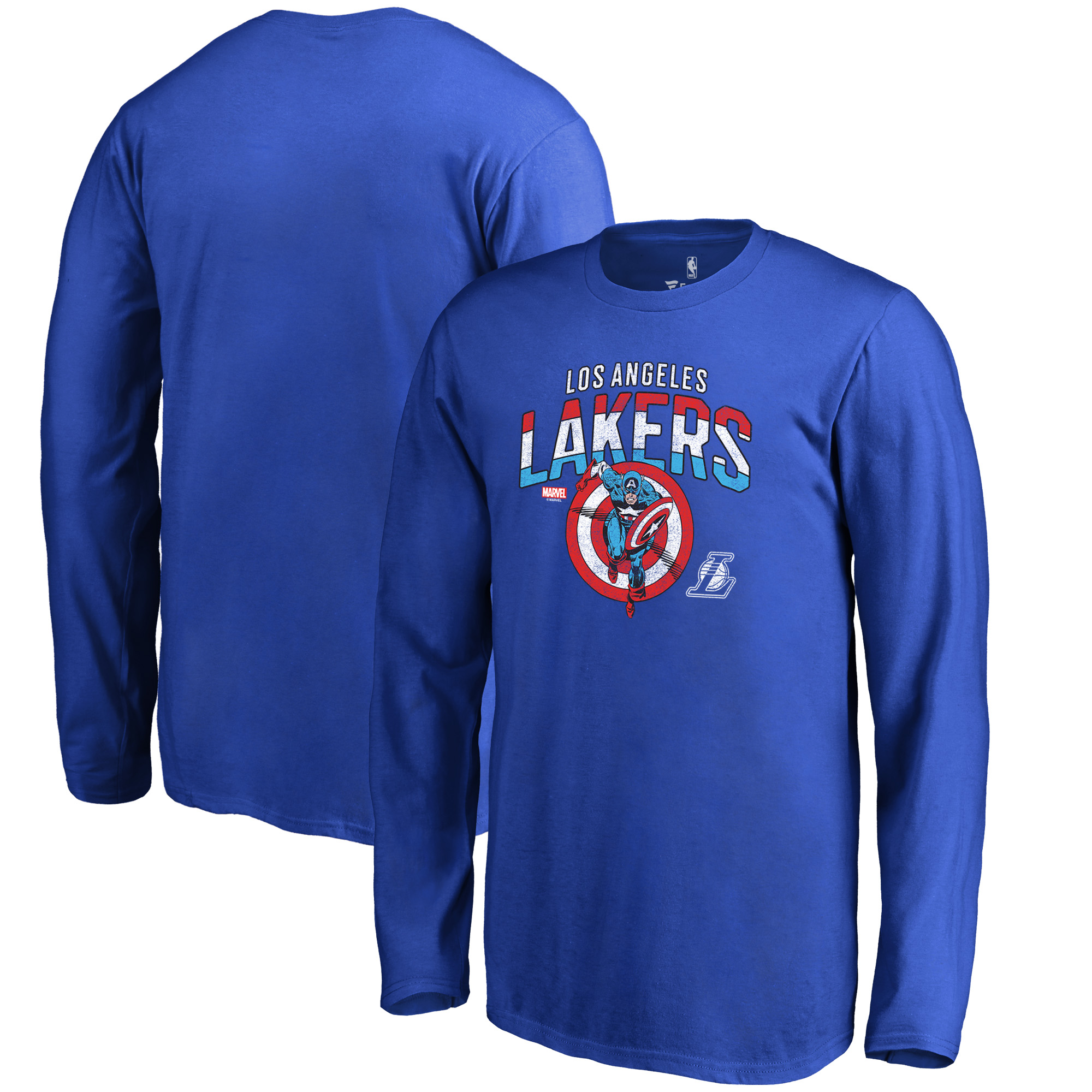 Los Angeles Lakers Fanatics Branded Youth Captain's Shield Long Sleeve T-Shirt - Royal