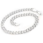 """5mm Small Sterling Silver 6"""" Double Link Chain Charm Bracelet, Child Size"""