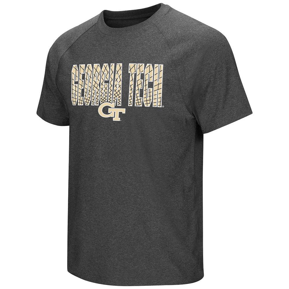 Mens NCAA Georgia Tech Yellow Jackets Short Sleeve Tee Shirt (Heather Charcoal) by Colosseum