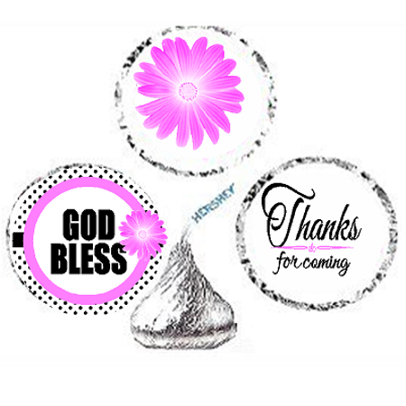 216ct Pink God Bless Religious Baptism Communion Party Favor Hersheys Kisses Candy Decoration Stickers / Labels - Baptism Accessories