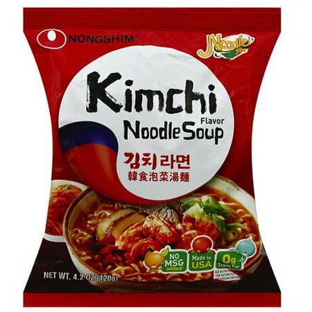 Nongshim Kimchi Flavor Noodle Soup Mix, 4.2 oz, (Pack of 16)
