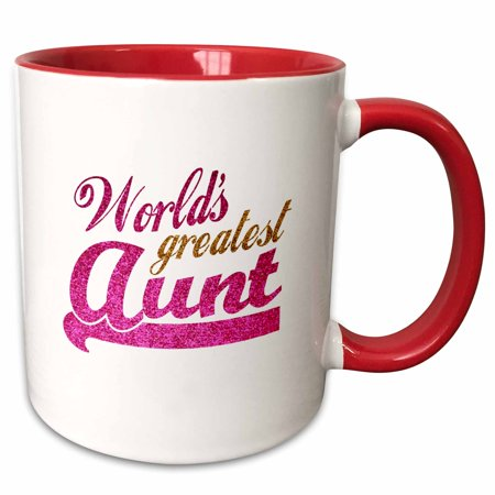 3dRose Worlds Greatest Aunt - Best Auntie ever - pink and gold text - faux sparkles - matte glitter-look - Two Tone Red Mug,
