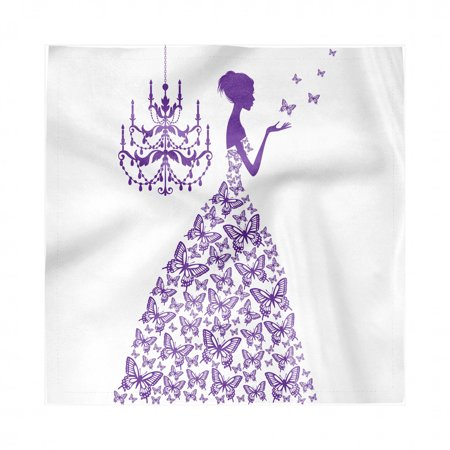 Love Napkins Set of 4, Romantic Fairtytale Lady Butterflies Princess with Antique Chandelier Graphic, Silky Satin Fabric for Brunch Dinner Buffet Party, by Ambesonne