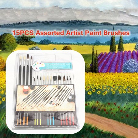 15Pcs Assorted Size Set Artist Paint Brushes Tools For Oil Painting Watercolor
