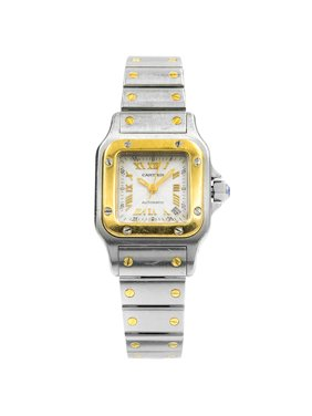 Pre-Owned Cartier Santos Galbee Silver Roman Dial Steel Yellow Gold Ladies Watch 2423