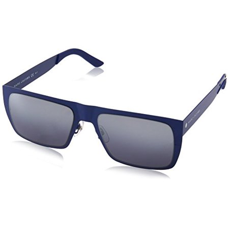 Marc Jacobs Men's Marc55s Rectangular Sunglasses, Matte Blue/Gray Silver Sp Deg, 55 mm