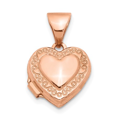 14k Rose Gold 10mm Heart Shaped Scrolled Photo Pendant Charm Locket Chain Necklace That Holds Pictures For Women Gift