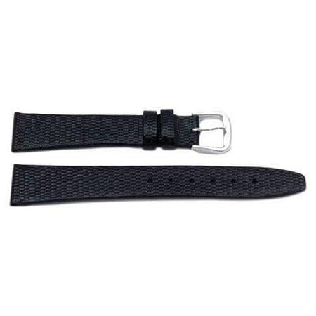 6mm Genuine  Leather Lizard Grain Black Watch -