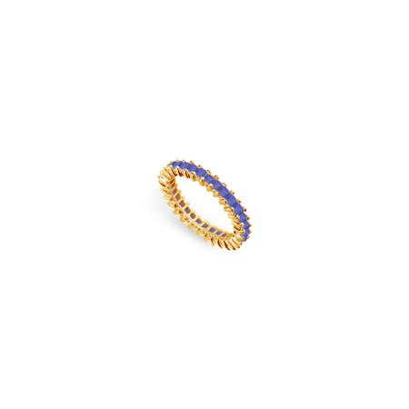 Blue Created Sapphire Eternity Band Yellow Gold Vermeil 2.00 CT TGW - image 4 of 4