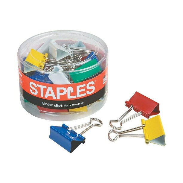 "Staples Medium Colored Metal Binder Clips 1 1/4"" Size With"