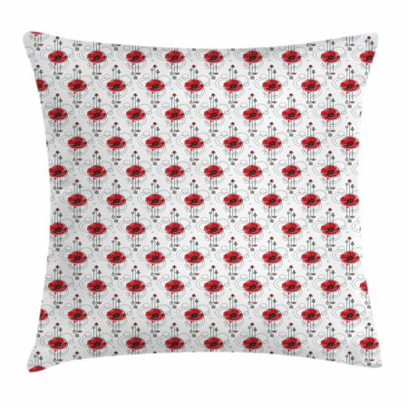 Arrow Geometric Tie (Tattoo Throw Pillow Cushion Cover, Red Poppy Flowers with Geometric Details Arrows and Circles Watercolor Boho Fashion, Decorative Square Accent Pillow Case, 16 X 16 Inches, Multicolor, by Ambesonne)