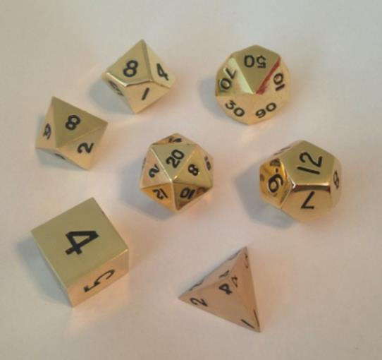 Gold Color Solid Metal Dice Polyhedral 16mm (5/8in) 7-Dice Set Metallic Dice Games