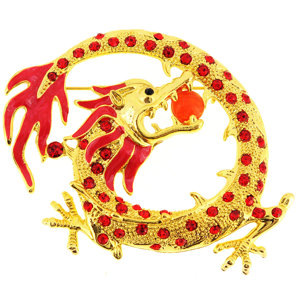 Golden Chinese Dragon Crystal Pin Brooch by