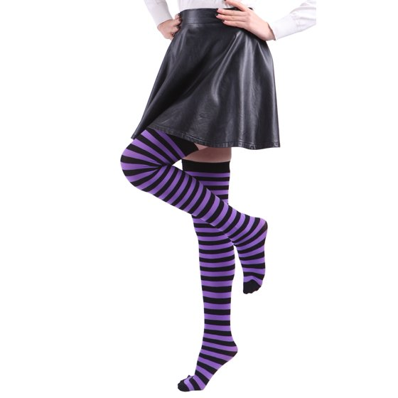 242d995913b6c HDE - Women's Plus Size Striped Stockings Thigh High Over the Knee ...
