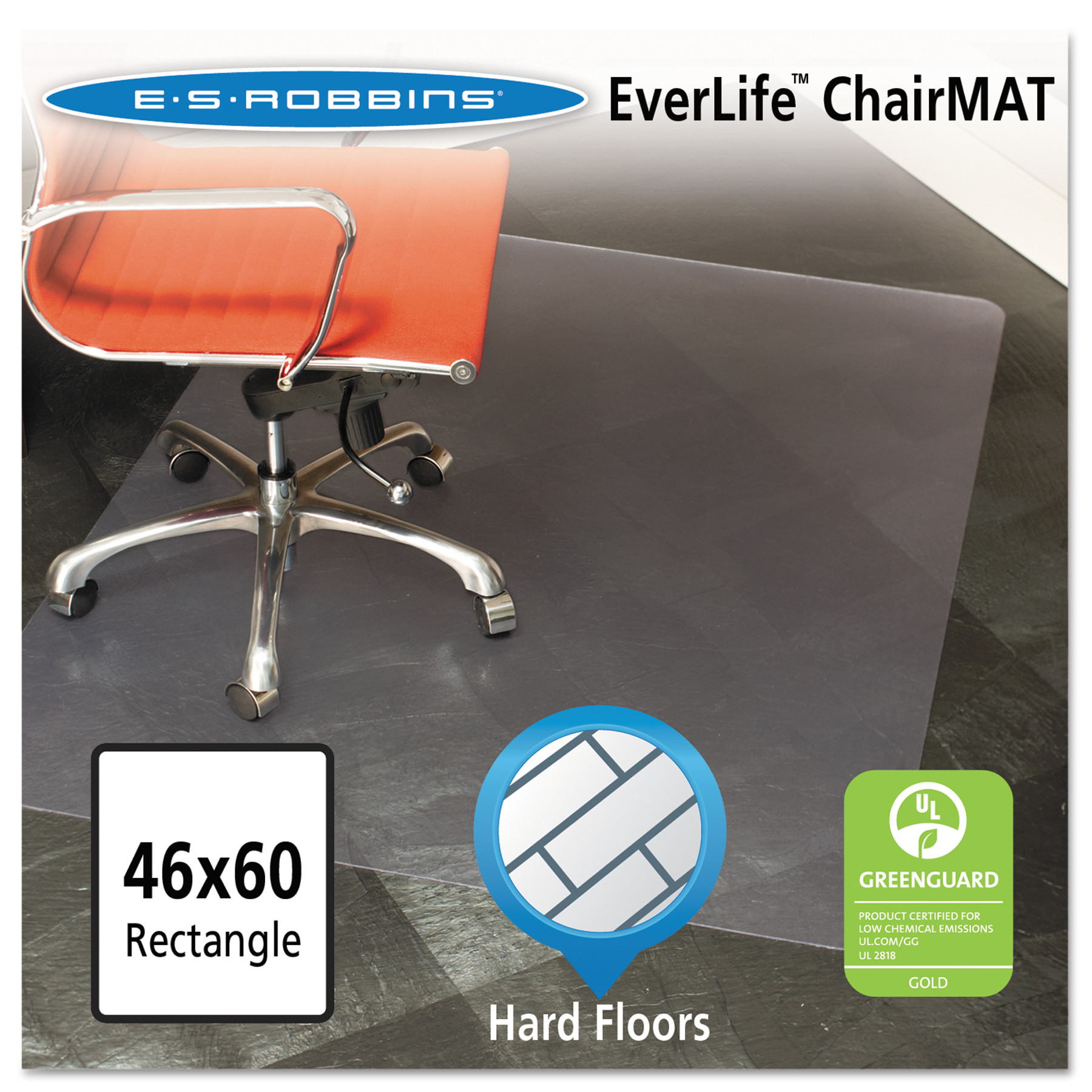 ES Robbins EverLife 46 x 60 Chair Mat for Hard Floor, Rectangular