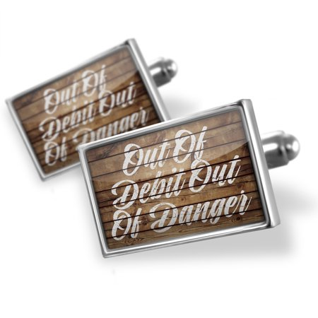 Cufflinks Painted Wood Out Of Debit Out Of Danger   Neonblond