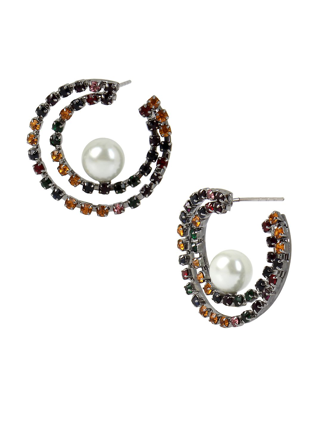 Red Carpet Confetti Hematite Faux Pearl Double Row Hoop Earrings