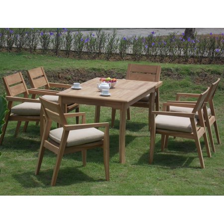 seater 7 pc 60 rectangle table and 6 stacking vellore arm chairs