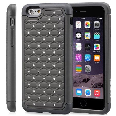 Stars Sparkle Design - iPhone 6s Plus Case, Fosmon HYBO-SD Sparkle Diamond Star Design Hybrid Case for Apple iPhone 6 Plus (2014) / iPhone 6s Plus (2015) - Black