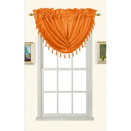 Melanie Faux Silk Rod Pocket Waterfall Valance With Tassels, Orange, 58x37
