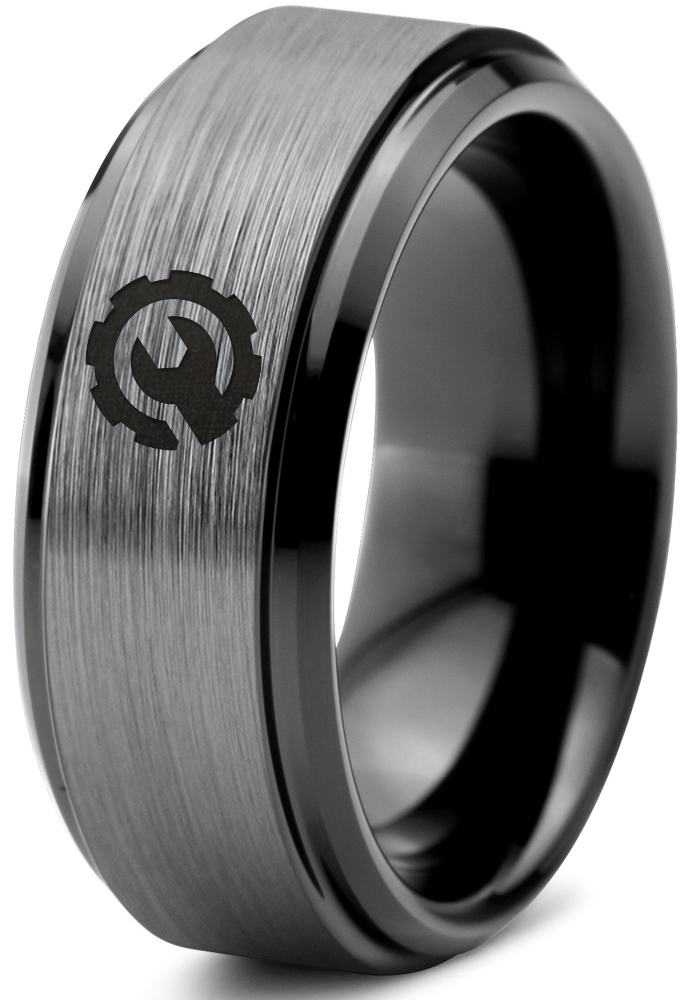 FREE SHIPPING FREE Custom Engraving 10mm Black Tungsten Band with Flat Edge Controller Ring Gamer Ring Player Ring Tungsten Gamer Ring